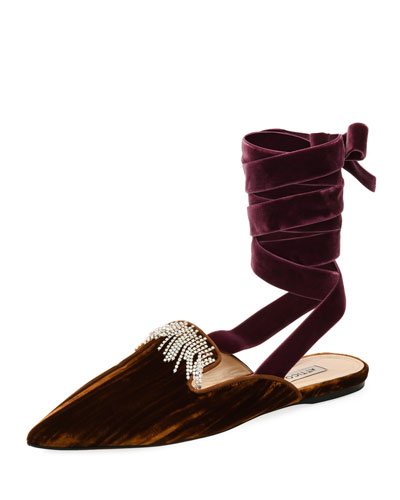 Anne Crystal-Embellished Velvet Ankle-Wrap Mule