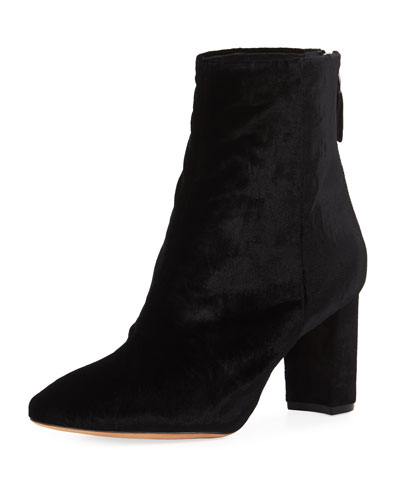 Anne Embroidered Velvet Bootie