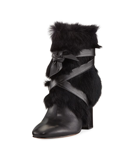 Lora Rabbit Fur Block-Heel Boot