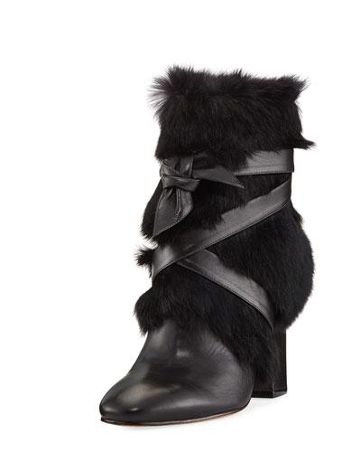 Lora Rabbit Fur Block-Heel Boot