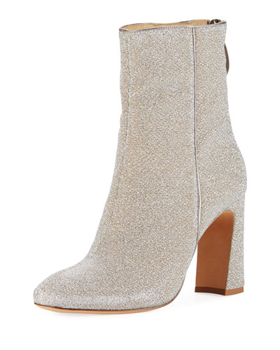 Corella Metallic Fabric Block-Heel Boots