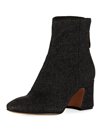 Corella Metallic Knit Block-Heel Boots