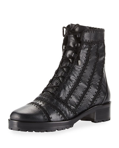 Regina Crocheted Leather Combat Boot