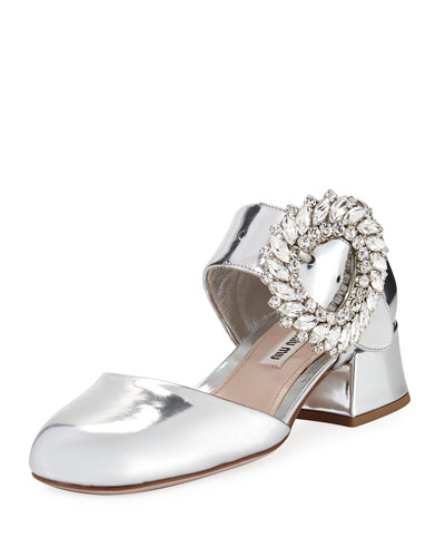 Metallic Mary Jane Block-Heel Pump