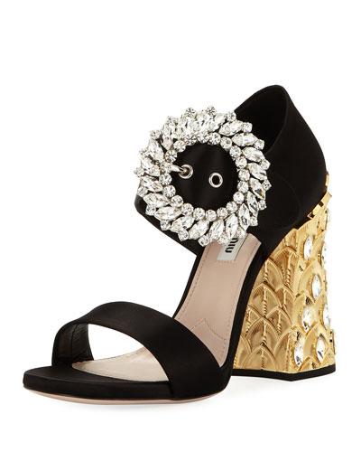 Satin Crystal-Buckle Pineapple-Heel Sandal