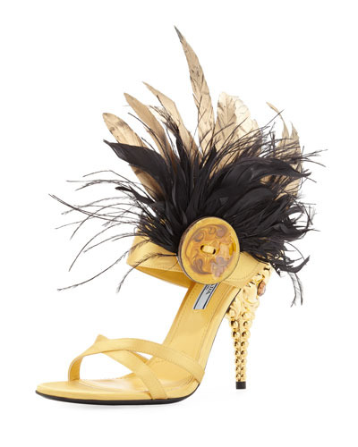 Feather-Embellished Satin 110mm Sandal