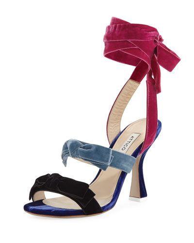 Colorblock Velvet Ankle-Wrap Sandal