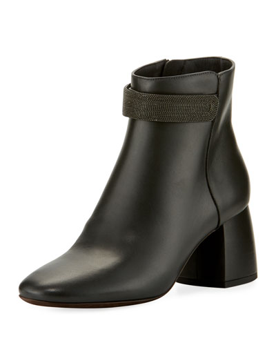 Leather Monili-Strap Block-Heel Boot