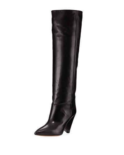 Lokyo Leather Over-the-Knee Boot, Black