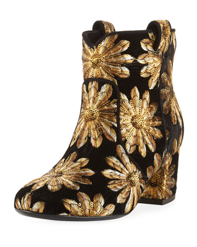 Belen Metallic Embroidered Western Bootie