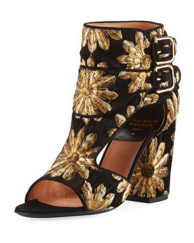 Rush Metallic-Embroidered Open-Toe Bootie
