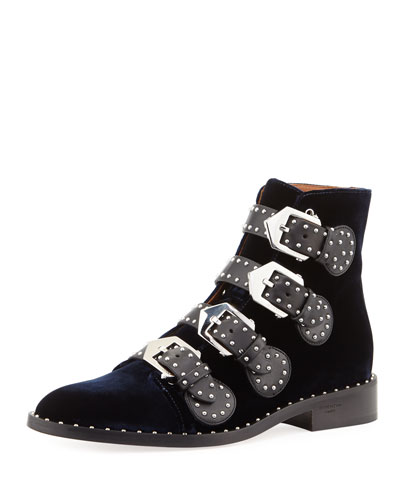Elegant Studded Velvet Buckle Boot