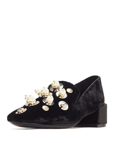 Tillie Embellished Velvet Block-Heel Pump