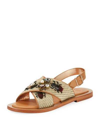 Embellished Bug Leather & Raffia Sandal