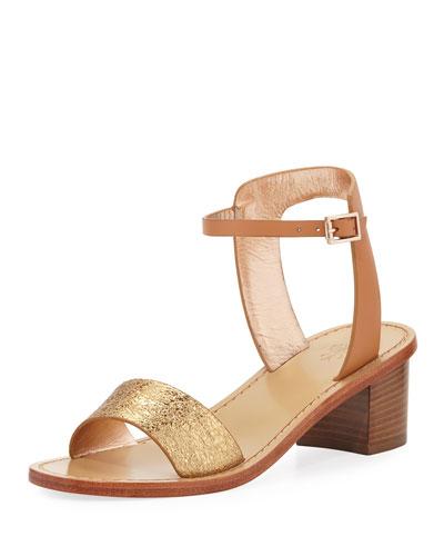 Metallic Leather Ankle-Strap Block-Heel Sandal