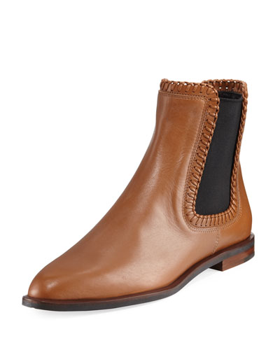 Whipstitched Flat Leather Chelsea Boot, Brown