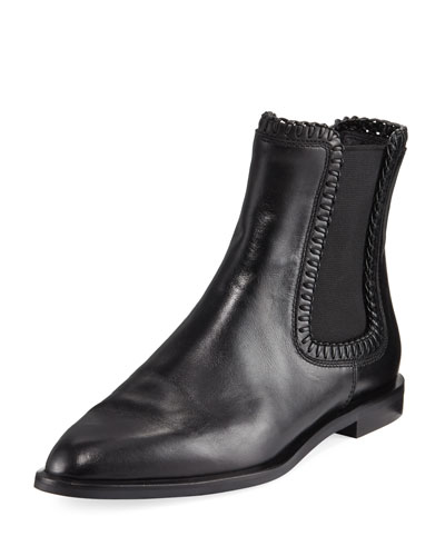 Whipstitched Flat Leather Chelsea Boot, Black