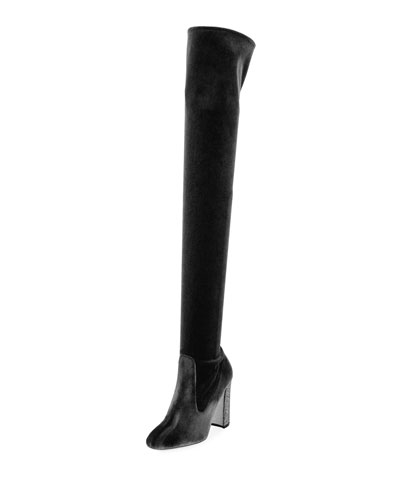 Velvet Crystal-Heel Over-the-Knee Boot
