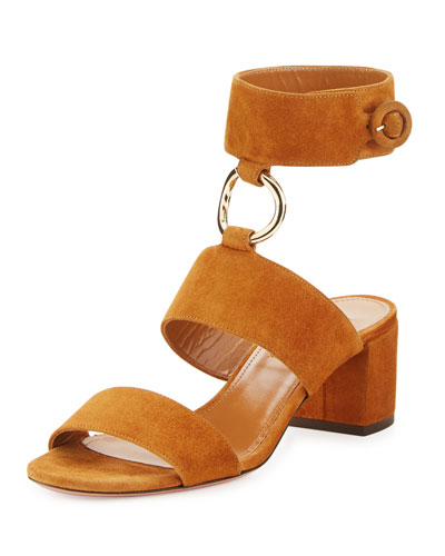 Safari Suede 50mm Sandal, Cognac