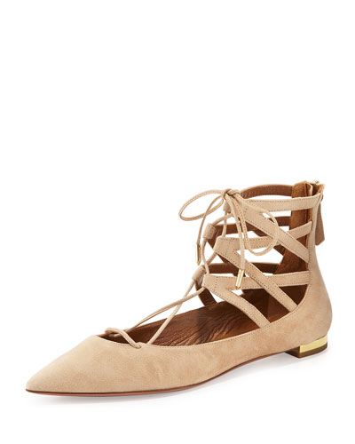 Belgravia Suede Lace-Up Flat