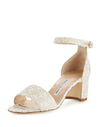 Laurato Floral Linen City Sandal, Floral Raffia