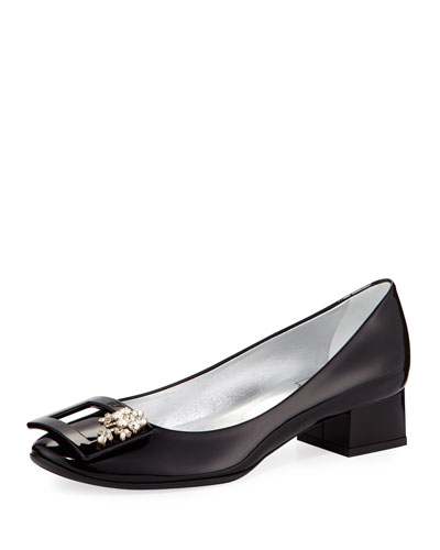 Jeweled Patent Block-Heel Pump