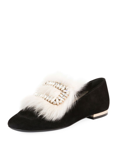 Polly Fur-Trim Buckle Loafer