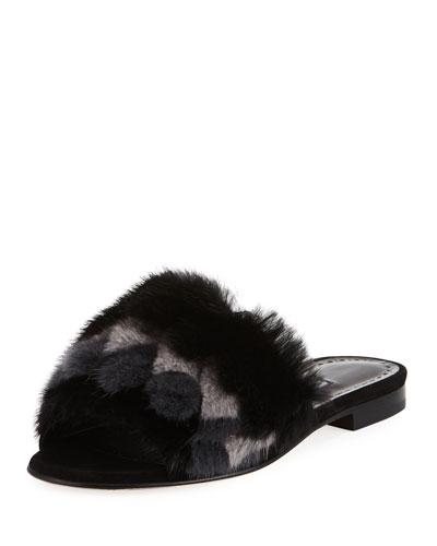 Pelususmin Mink Fur Flat Slide Sandal