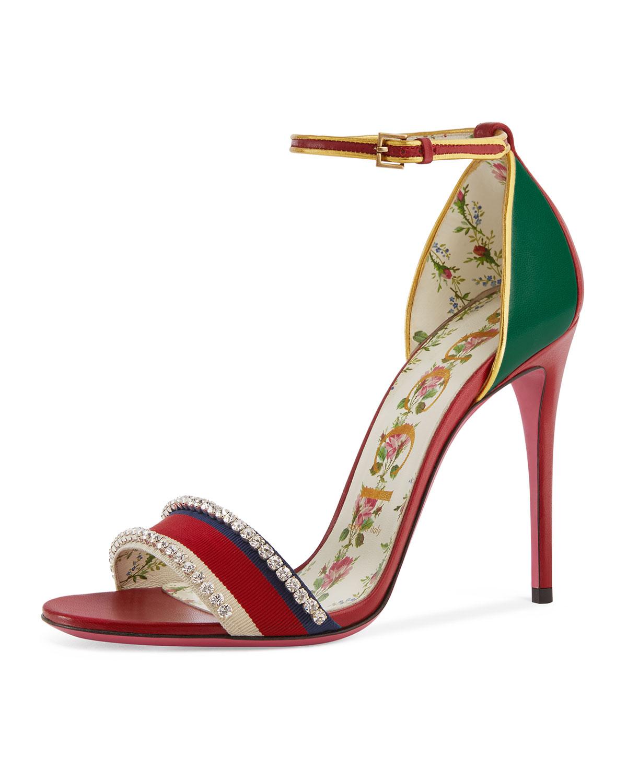 Isle Jeweled Ankle-Wrap Sandal