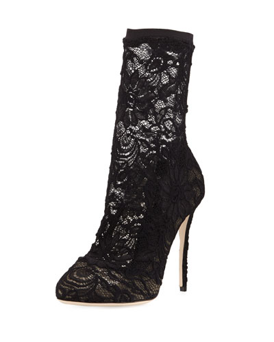 Lace Stiletto Sock Bootie