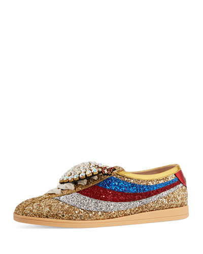 Falacer Glittered Low-Top Sneaker with Heart Ornament