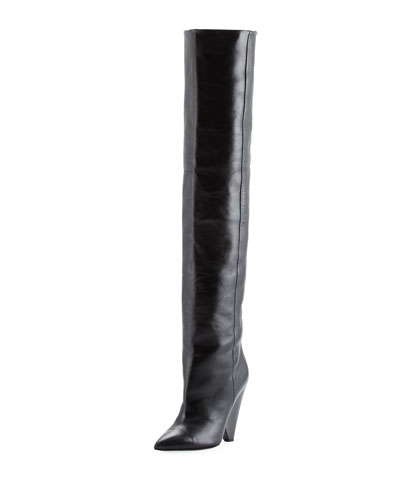Jodie Patent Leather Over-The-Knee Boots, Black