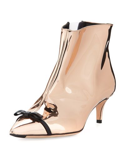 Metallic Point-Toe Bow Boot