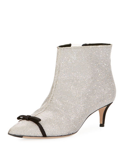 MARCO DE VINCENZO Crystal Bow Embellished Ankle Boots in Metallic