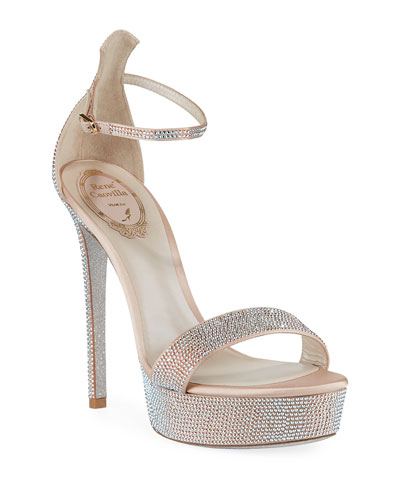 130mm Crystal-Studded Satin Platform Sandals