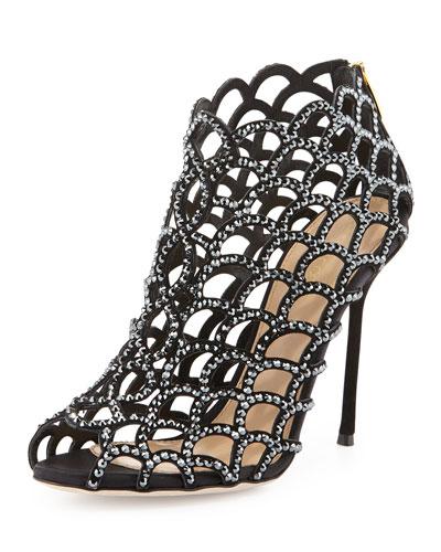 Scalloped Crystal Peep-Toe Sandal