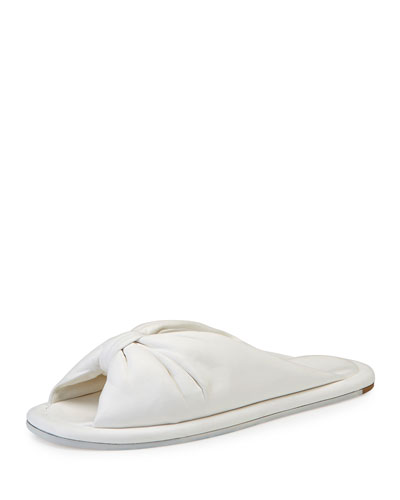 Bow Leather Flat Slide Sandal