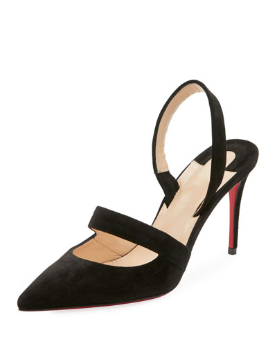 Actina Cutout Suede Red Sole Pump