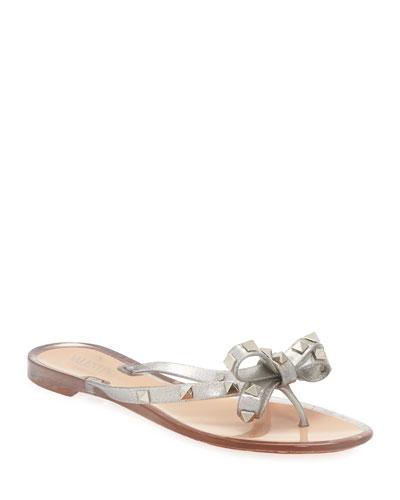 6e68b572f99c Rockstud Metallic Jelly Flat Thong Sandal Quick Look. Valentino Garavani