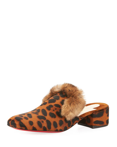 Boudiva Calf-Hair Rabbit-Trim 35mm Red Sole Mule, Brown