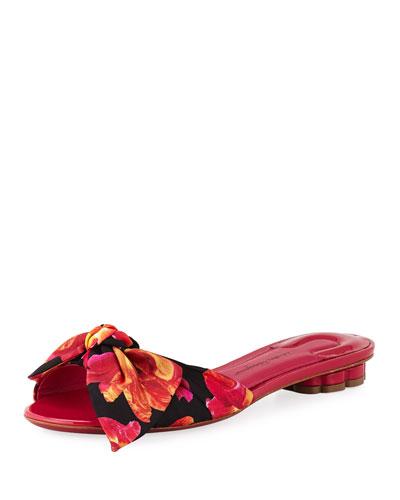 Floral-Print Silk Slide Sandal