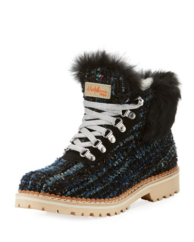 Sequoia Fur-Trim Metallic Knit Hiker Boot