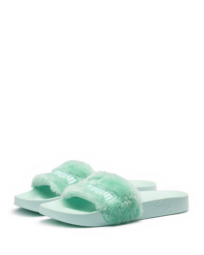 Faux-Fur Pool Slide Sandal, Light Green