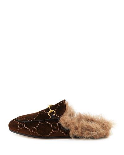 Princetown Fur-Lined GG Velvet Mule Loafer