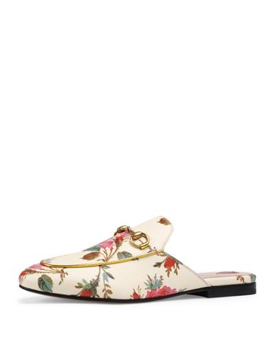 Princetown Floral-Print Flat Mule Loafer