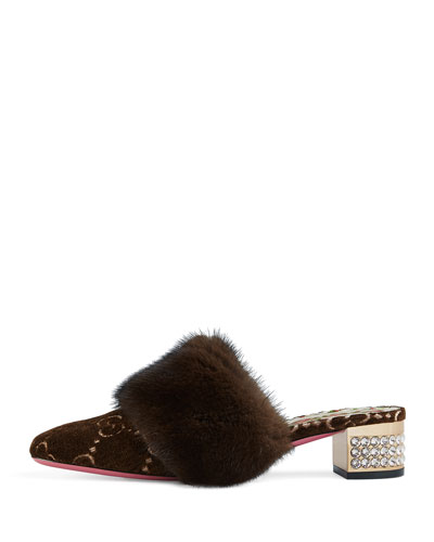 Candy GG Velvet Fur-Trim Mule