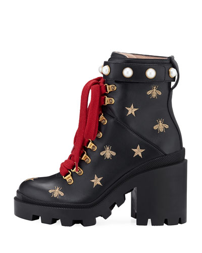 Embroidered Platform Hiking Boot