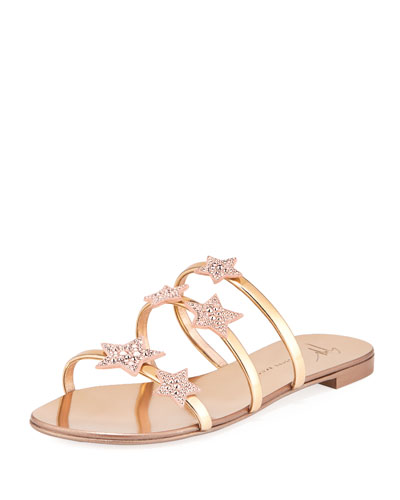 Metallic Leather Star Slide Sandal