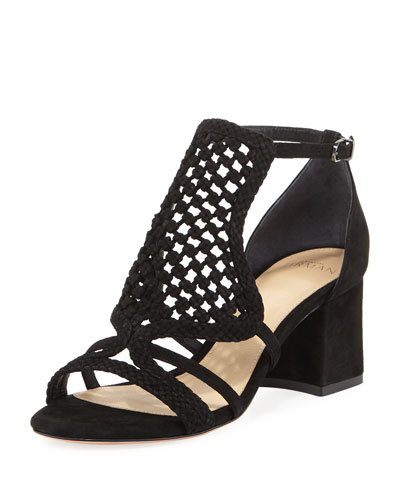 Carmella Crocheted Block-Heel Sandal
