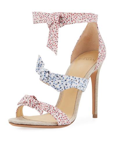 Lolita Floral-Print Three-Strap Sandal